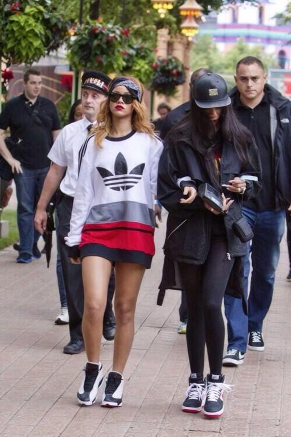 sweater adidas red white black rihanna hair accessory dress oversized sweater shoes sneakers bandana shirt