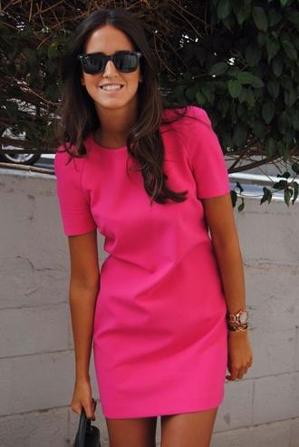 dress pink dress short sleeve dress bright pink
