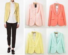 Basic Candy OL Mint Green Coral Light Pink Yellow Slim Suit Jacket Blazer S M L | eBay