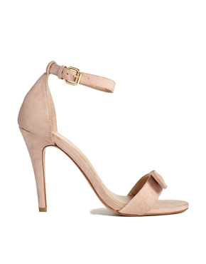 New Look | New Look Present Cream Bow Barely There Heeled Sandals at ASOS