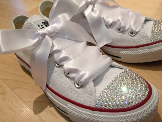 Swarovski Crystal customised Converse  White by SpoilingDoilies