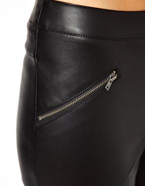 ASOS Petite | ASOS PETITE Exclusive Leather Look Pants With Zip Detail at ASOS