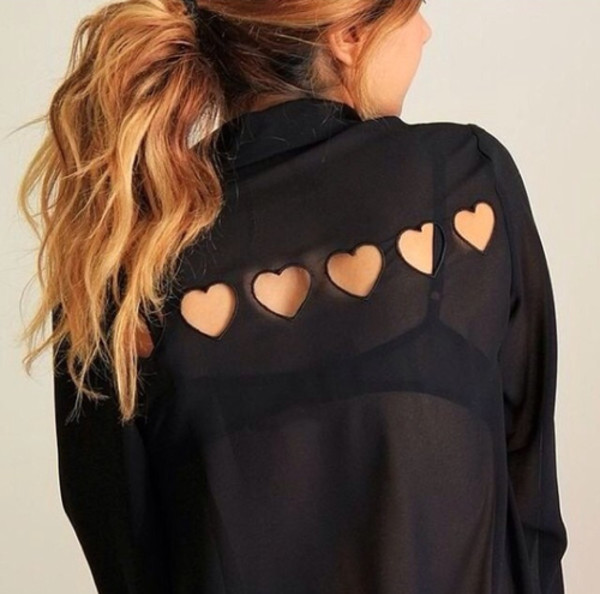 blouse shirt heart cut out heart black