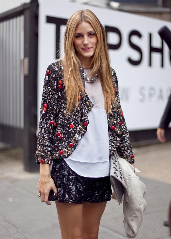 jacket topshop seqiun embellished jacket embellished sequin jacket beaded jacket beaded black fashion week olivia palermo Sequin shorts