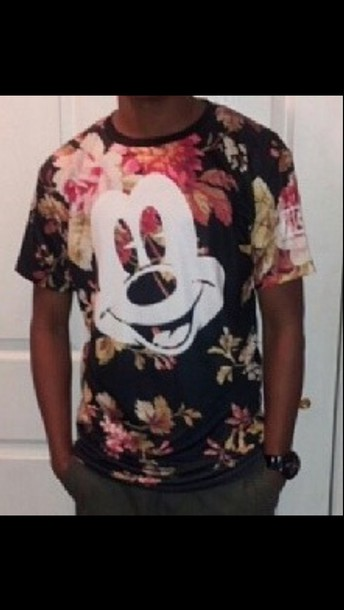 mens t-shirt floral mickey mouse shirt