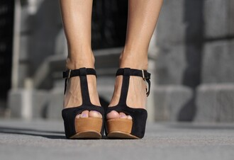shoes heels wood wooden black t-strap t-strap heels buckles wedges fashion style trendy tumblr