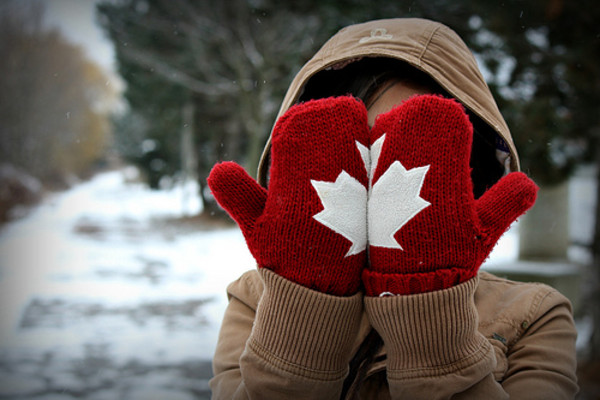 scarf canada gloves red white winter outfits cute