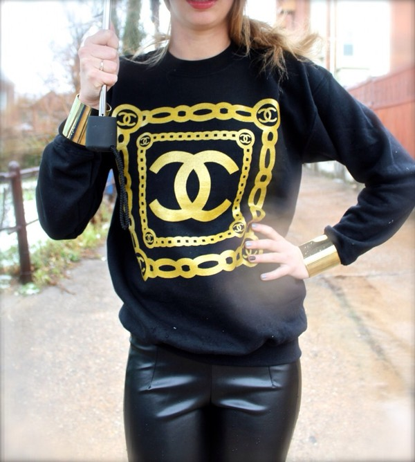 sweater chanel sweatshirt jewels leather pants