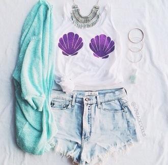 shirt the little mermaid thelittlemermaid mermaid cardigan