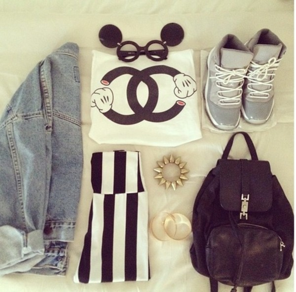 sunglasses mickey mouse jeans sneakers backpack bag shirt clothes jacket jewels shorts tee short t-shirt t-shirt denim shoes