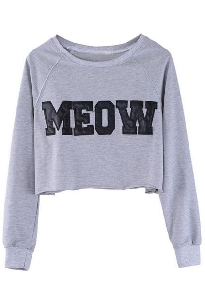 ROMWE | ROMWE PU MEOW Short Length Grey Sweatshirt, The Latest Street Fashion