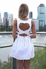 HEART CUT OUT DRESS  , DRESSES, TOPS, BOTTOMS, JACKETS & JUMPERS, ACCESSORIES, 50% OFF SALE, PRE ORDER, NEW ARRIVALS, PLAYSUIT, COLOUR, GIFT VOUCHER,,White,CUT OUT Australia, Queensland, Brisbane