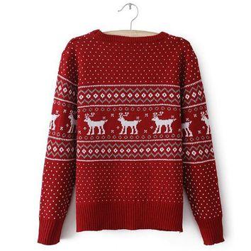 Red Deer Christmas Sweater on Wanelo