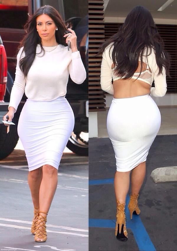 kim kardashian shoes skirt sweater