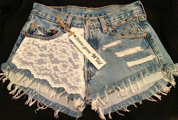 LACE High waist destroyed denim shorts super by jeansgonewild on Wanelo