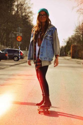 jacket jeans beanie demin vest flannel hoodie shy'm glass combat boots