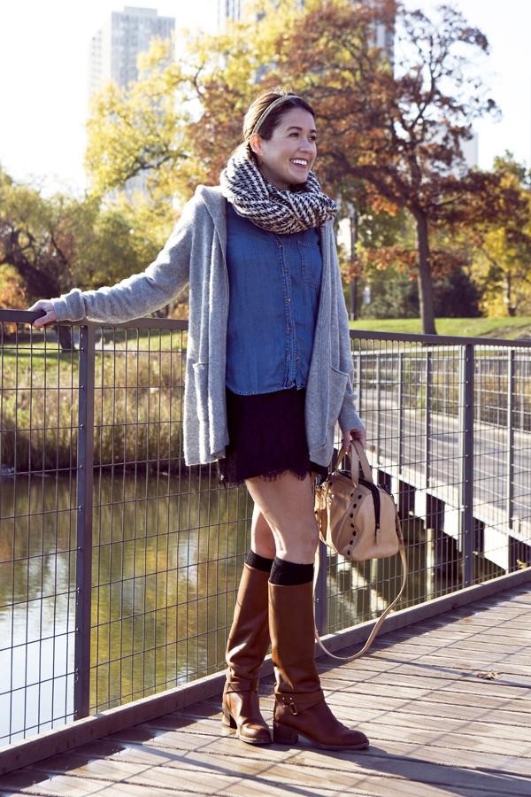 sequins and stripes dress belt jewels bag sweater