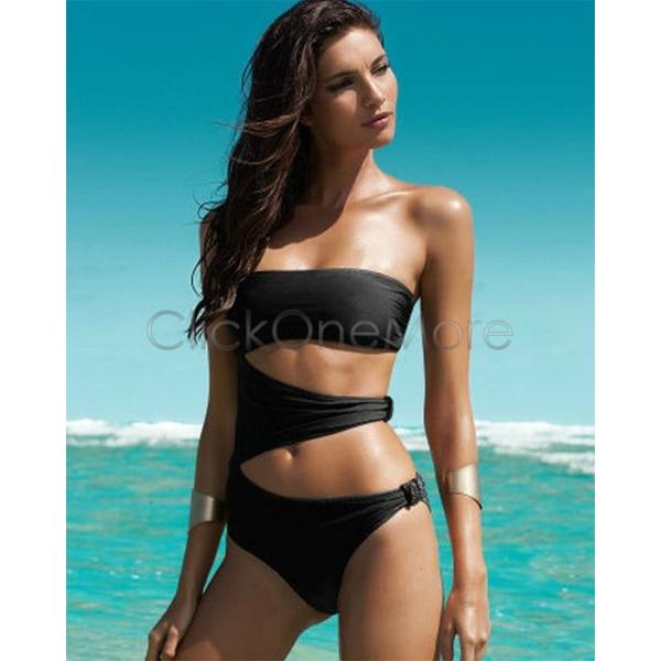 MON Women Black One Piece Cut Out Monokini Swimsuit Bikini Padded Swimwear L M S | eBay