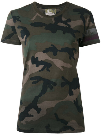 t-shirt shirt women camouflage cotton brown top