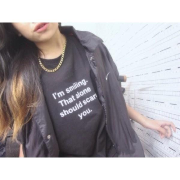 shirt t-shirt black smile funny