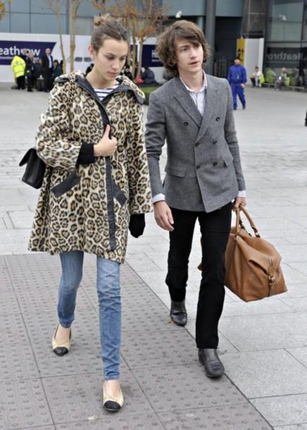 leopard print alexa chung coat jewels