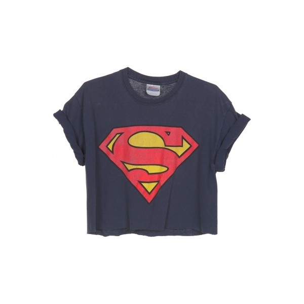 Rokit Recycled Navy Superman Cropped T-Shirt - Polyvore