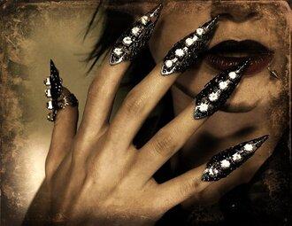 jewels metal armor ring hand jewelry diamonds black silver sexy