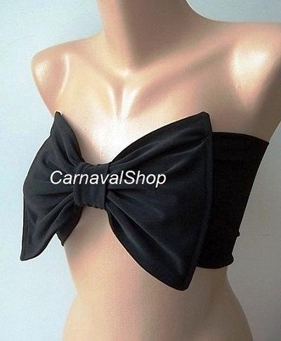 PADDED Black bow swimsuit spandex by CarnavalShop on Etsy