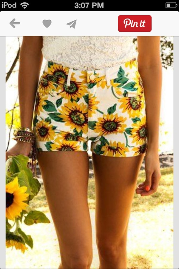 shorts high waisted sunflower print shorts