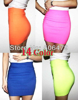 2014 Autumn Womens vogue mini skirts candy color A line Stretch club wear skrits High Quality pencil skirt wholesale dropship-in Skirts from Apparel & Accessories on Aliexpress.com