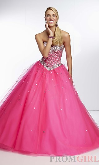 Long Strapless Beaded Ball Gown, Mori Lee Corset Gown- PromGirl