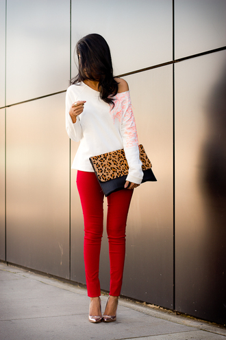 walk in wonderland t-shirt sweater jeans shoes pants top cute shirt off the shoulder bag leopard oversized clutch purse clutch fashion classy red girly fall outfits date outfit blouse papillon white red jeans white top long sleeves animal print bag pointed toe pumps pumps red pants