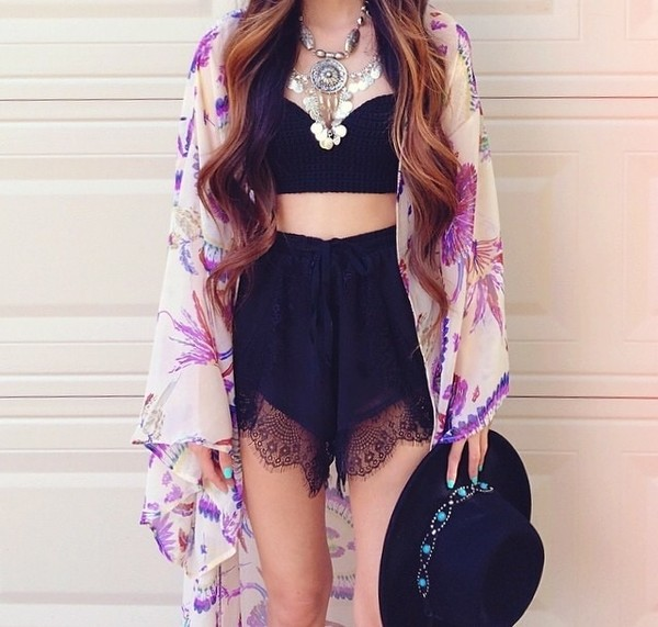 top shorts black lace hat necklace crop tops black lace shorts kimono