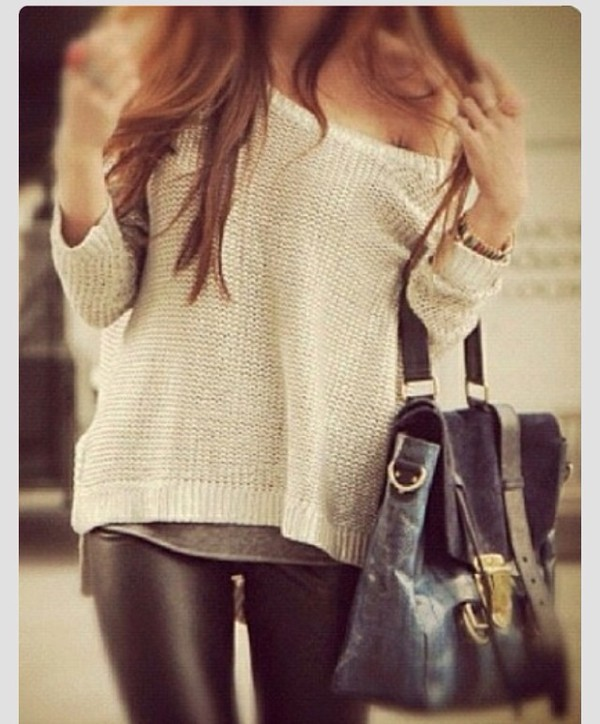 sweater white jumper slouchy slouchy sweater pants