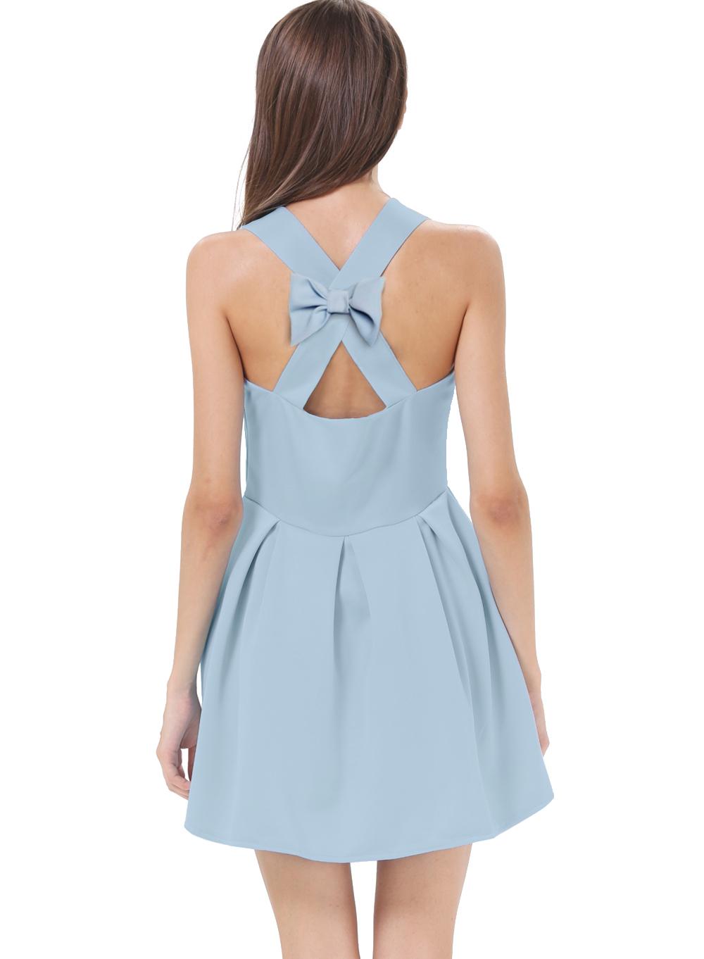 Blue Criss Cross Backless Bow Pleated Dress - Sheinside.com