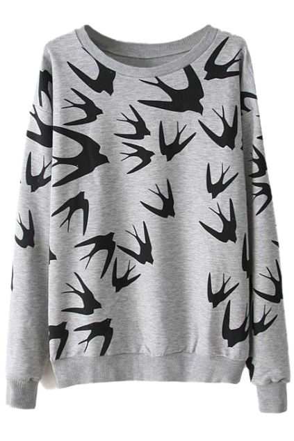 ROMWE | Swallow Printed Grey Pullover, The Latest Street Fashion
