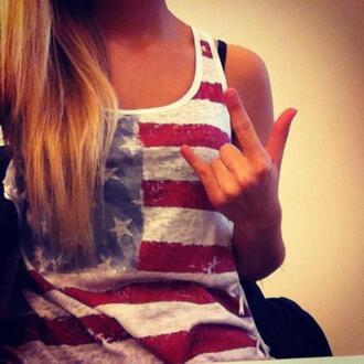 usa rock blue red stars flag us flag american flag girl nice shirt