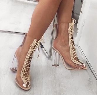 shoes heels high heels boots transparent clear boots nude boots peep toe boots transparent boots