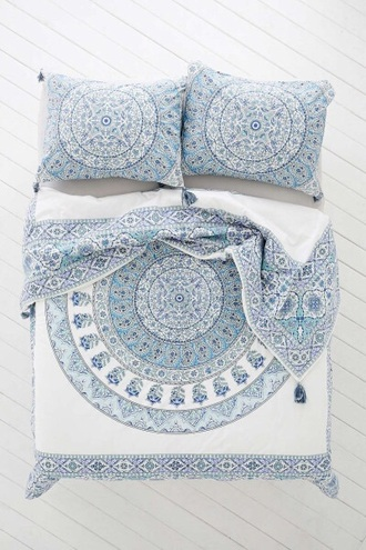 home accessory home decor bedding boho chic style mandala lelaan lelaan sheet sets bed sheet or bed spread boho decor pajamas bohostyle 3d comforters duvets boho bohemian hippie duvet blankets indie hipster white blue house bedroom teen room bedsheets blue bedding white bedding printed bedding pillow designed designed pillows boho bedding