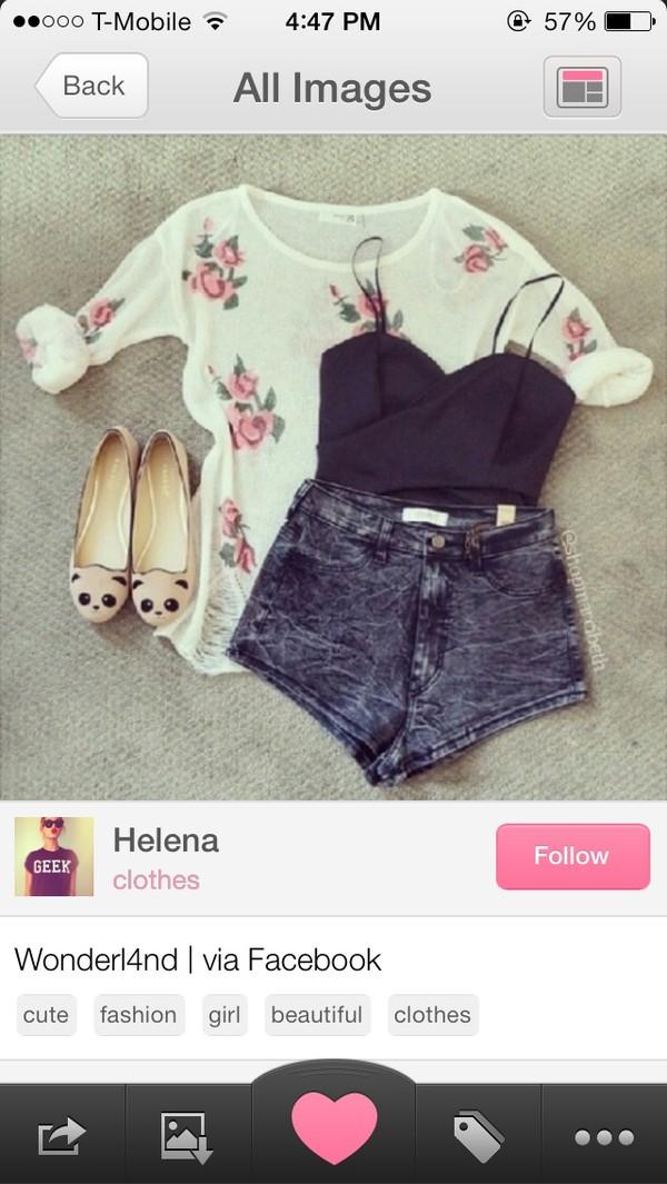 sweater panda shorts blouse shoes