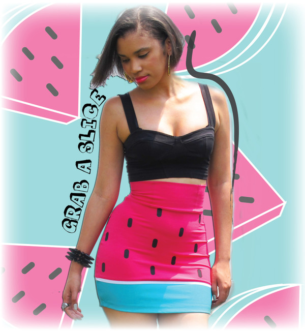 skirt watermelon print tube skirt cute pink spikes and sequins lazy oaf