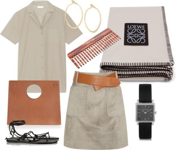 camille over the rainbow blogger shirt suede hoop earrings sandals beige loewe medium-size belt outfit jewels skirt bag