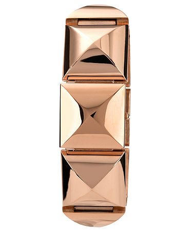 Vince Camuto Watch, Women's Rose Gold-Tone Pyramid Covered Link Bracelet 25x22mm VC-5026RGRG - Watches - Jewelry & Watches - Macy's