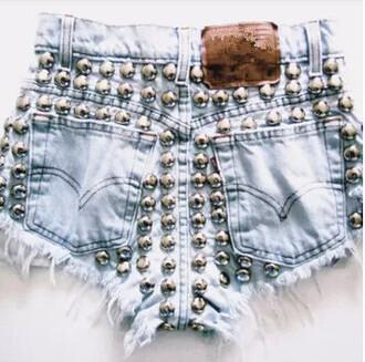 shorts denim denim shorts waist waisted high waisted high waisted shoert sky sky blue jeans riflovina balls studs rivets silver