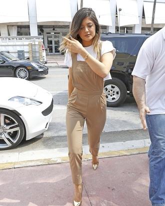 pants kylie jenner cream kardashians jumpsuit kylie jenner color nude overalls romper tan brown
