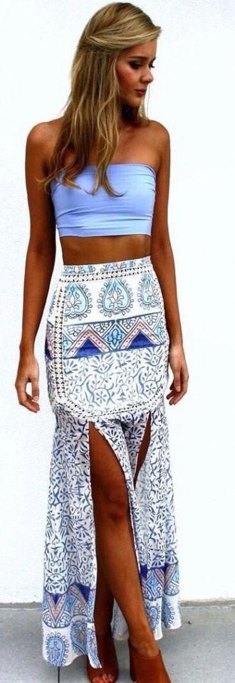 skirt long skirt maxi skirt skirt with slit tribal pattern