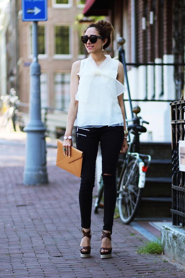 preppy fashionist sunglasses jewels top jeans bag shoes