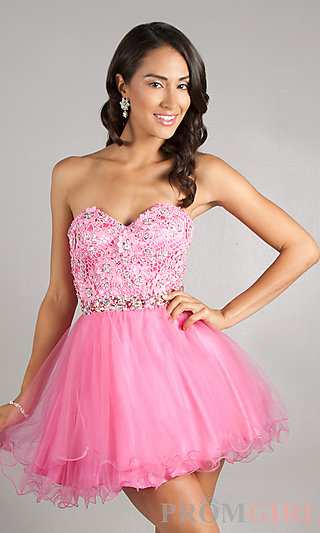 Short Lace Party Dress, Dave and Johnny Prom Dresses- PromGirl