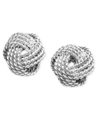 Giani Bernini Sterling Silver Earrings, Double Knot Stud - Earrings - Jewelry & Watches - Macy's
