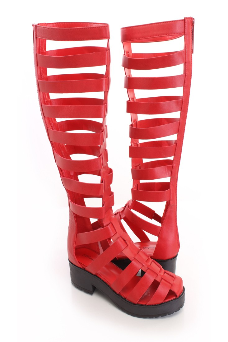 Red Gladiator Sandal Boots Faux Leather